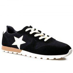 Colour Block Star Pattern Athletic Shoes - BLACK