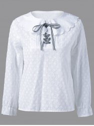 Peter Pan Collar Long Sleeve Blouse -