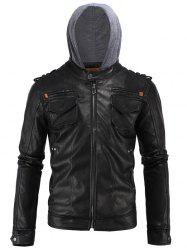 Epaulet Design PU Hooded Moto Jacket - BLACK