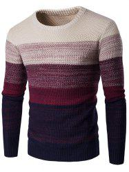 Crew Neck Gradient Color Space Dyed Sweater - WINE RED L