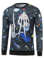 Crew Neck Skeleton Print Galaxy Sweatshirt