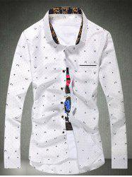 Dot Print Button Long Sleeve Plus Size Shirt