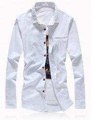 Button Turn-Down Collar Embellished Plus Size Shirt -