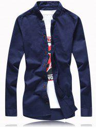 Turn-Down Collar Solid Color Button Plus Size Shirt -