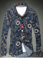 Chain Circle Printed Button Adorn Plus Size Shirt