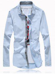 Splicing Turn-Down Collar Button Plus Size Shirt