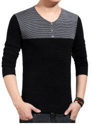 V-Neck Color Block Splicing Button Embellished Sweater