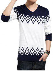 V-Neck Geometric Color Block Splicing Knitting Sweater - CADETBLUE 5XL