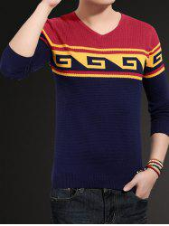 V-Neck Geometric Color Block Splicing Sweater