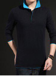 Plus Size Long Sleeve Polo Shirt - BLUE AND BLACK 5XL