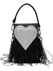 Heart Pattern Fringe Color Block Handbag