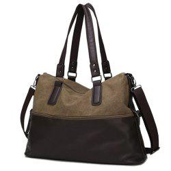 Color Block Canvas Spliced PU Leather Tote -