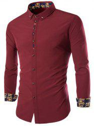 Long Sleeves Embroidery Button-Down Shirt