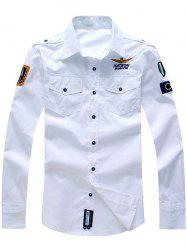 Embroidery Flap Pocket Turn-Down Collar Long Sleeves Shirt -
