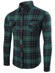 Checked Pattern Long Sleeve Fitted Denim Shirt -