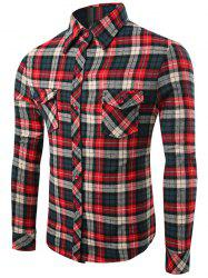 Checks Pattern Single-Breasted Long Sleeve Shirt -
