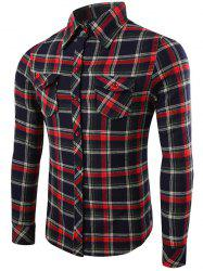 Long Sleeve Flap Pocket Plaid Flannel Shirt - RED WITH BLACK XL