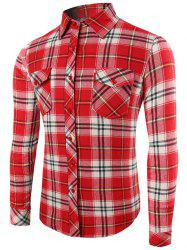 Plaid Pattern Long Sleeve Button Up Shirt - WATERMELON RED 2XL