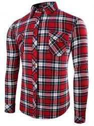 Front Pocket Design Plaid Long Sleeve Fitted Denim Shirt