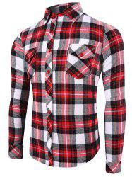 Flap Pocket Long Sleeve Color Splicing Plaid Shirt