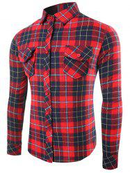 Single-Breasted Long Sleeve Flap Pocket Plaid Shirt - RED 2XL