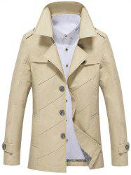 Single Breasted Long Sleeve Turn-Down Collar Jacket - LIGHT KHAKI 4XL