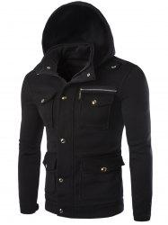 Long Sleeve Pocket and Zipper Design Hooded Jacket - BLACK 2XL