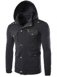 Long Sleeve Pocket and Zipper Design Hooded Jacket - DEEP GRAY