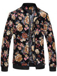 Zip Up Stand Collar Flowers Pattern Plus Size Jacket