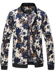 3D Floral Printed Zip Up Stand Collar Plus Size Jacket - COLORMIX 6XL