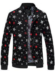Plus Size 3D Stars Printed Zip Up Stand Collar Jacket -
