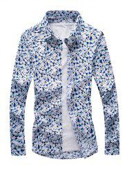 Printed Long Sleeve Button-Down Shirt
