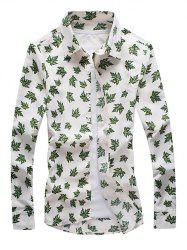 Maple Leaf Print Long Sleeve Button-Down Shirt