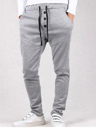 Drop Crotch Button Drawstring Harem Pants