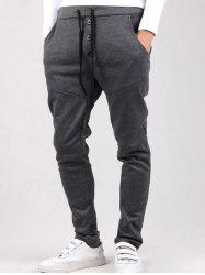 Drop Crotch Button Drawstring Harem Pants - DEEP GRAY
