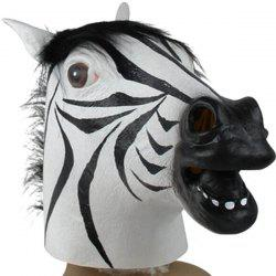 Creative Mask Zebra Head Halloween Cosplay Prop - Blanc