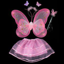 Halloween Supplies Butterfly Angel Dress Up 4PCS Kids Costume Set - PINK