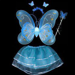 Halloween Supplies Butterfly Angel Dress Up 4PCS Kids Costume Set - BLUE