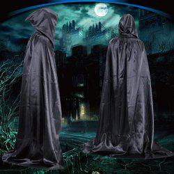 Halloween Party Supply Cosplay Death Hooded Cloak Costume - BLACK