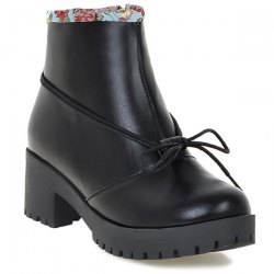 Floral Print Spliced Chunky Heel Ankle Boots - BLACK 43