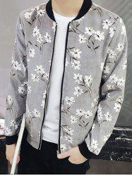 Floral Print Rib Insert Zip Up Jacket