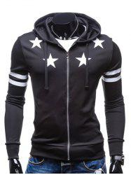 Star Print Zip Up Drawstring Hoodie