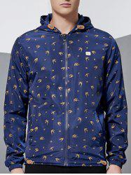 Zip-Up All-Over Animal Printed Hooded Jacket