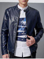 Stand Collar Faux Leather Jacket -