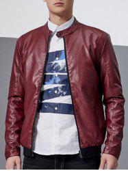 Stand Collar Faux Leather Jacket - RED