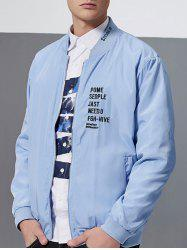Letter Embroidery Zip-Up Bomber Jacket - AZURE