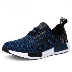 Breathable Colour Spliced Tie Up Athletic Shoes - DEEP BLUE