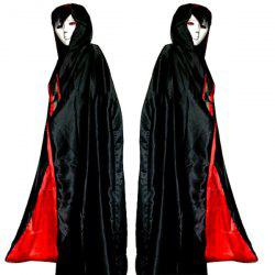Hooded Cloak Cosplay Vampire Halloween Costume Supply - RED WITH BLACK