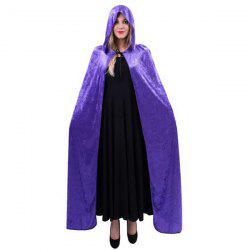 Halloween Supply Cosplay Party Witch Hooded Cloak Costume - PURPLE