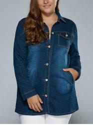 Stretchy Pockets Denim Trench Coat - DEEP BLUE